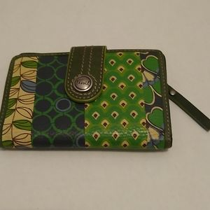 Fossil Wallet Small Floral Print Green Blue